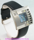 Montre femme carré strass bracelet noir